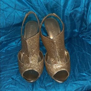 NWT Lane Bryant Gold Open Toed Shoes